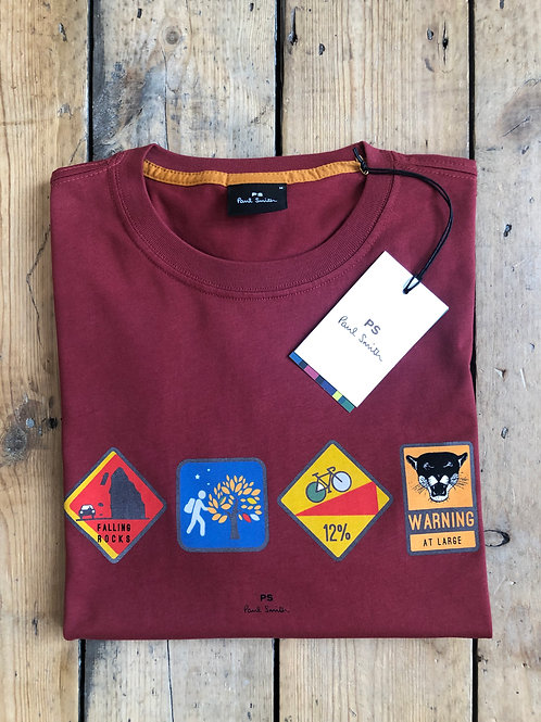 Paul Smith Cycling Warning Badges T-Shirt in dark red