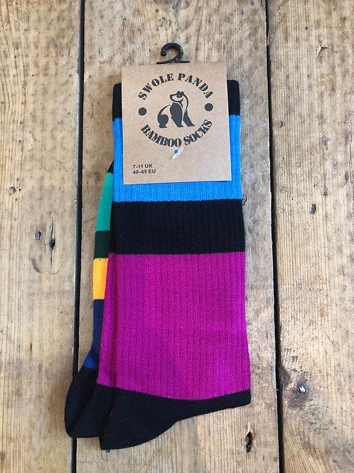 Swole Panda 'Rugby Stripe' bamboo sock
