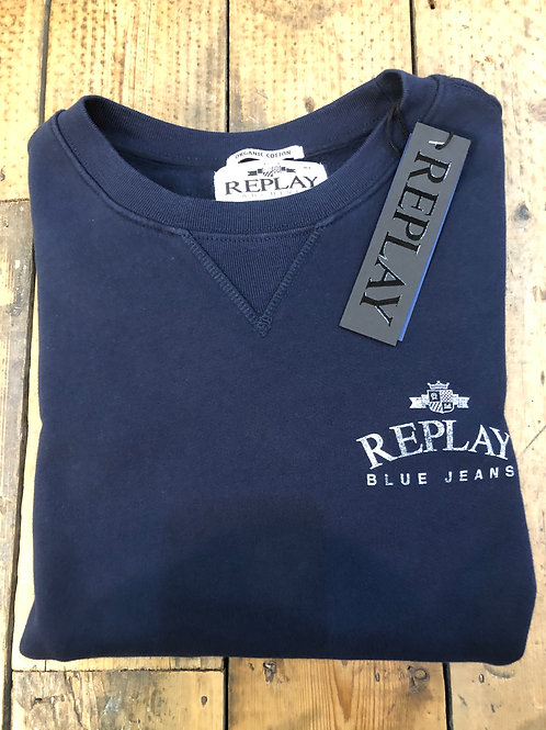 Replay 'blue jeans logo' organic cotton sweatshirt in Navy.