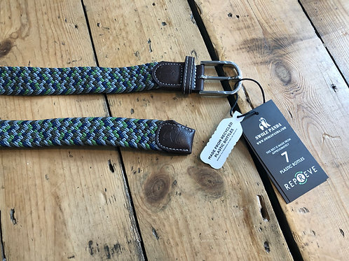 Swole Panda Recycled woven belt in Green and Blue zig zag