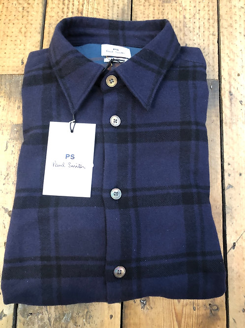 Paul Smith tailored fit Brushed cotton plaid shirt in navy and black