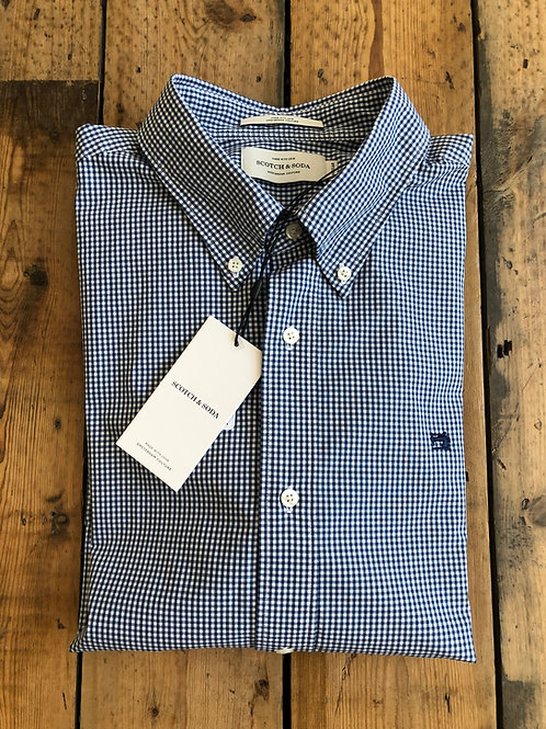 Scotch & Soda navy and white Gingham check shirt.