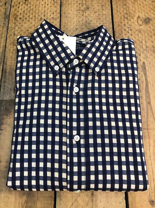 Scotch & Soda Blue and Ecru woven window pane check shirt