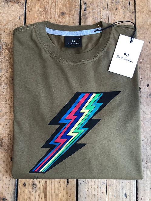 Paul Smith Rainbow Lightning bolt T-Shirt in moss green