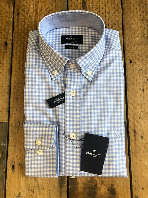 Hackett Flannel Check gingham shirt in Sky and White