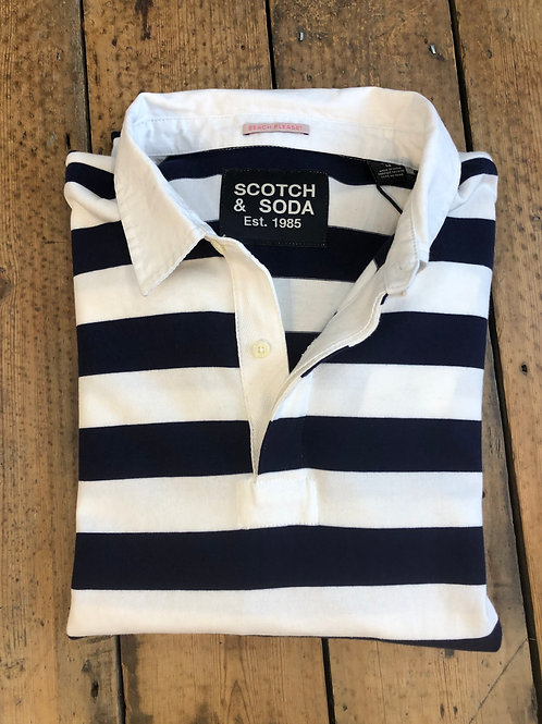 Scotch & Soda bar Stripe Rugby shirt in navy and white