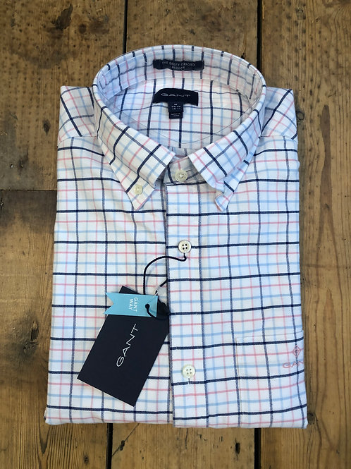 GANT Beefy Oxford check shirt in Sea Pink.