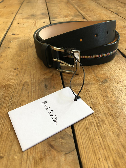 Paul Smith black leather belt with signature stripe insert