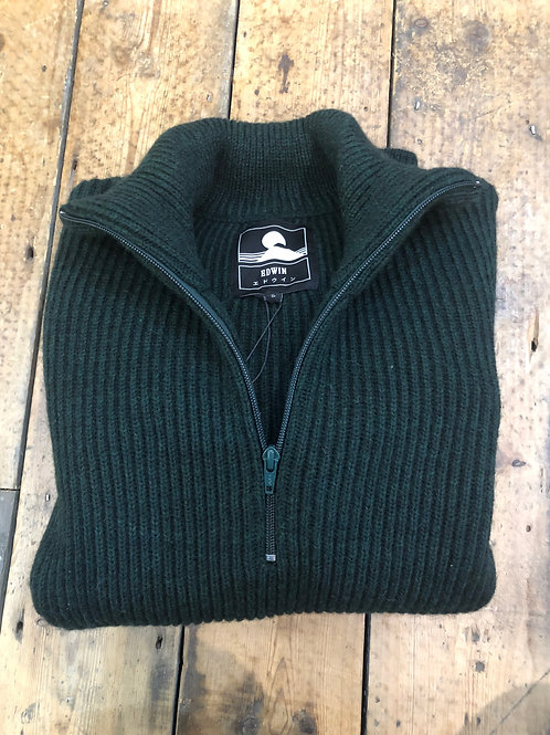 Edwin 'Military Knit' chunky rib, Zip neck pullover in Bottle green
