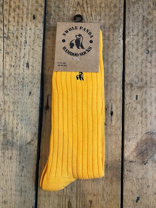 Swole Panda Yellow Ribbed bamboo sock
