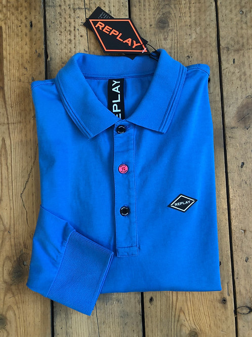 Replay long sleeve jersey cotton polo shirt in cobalt blue.