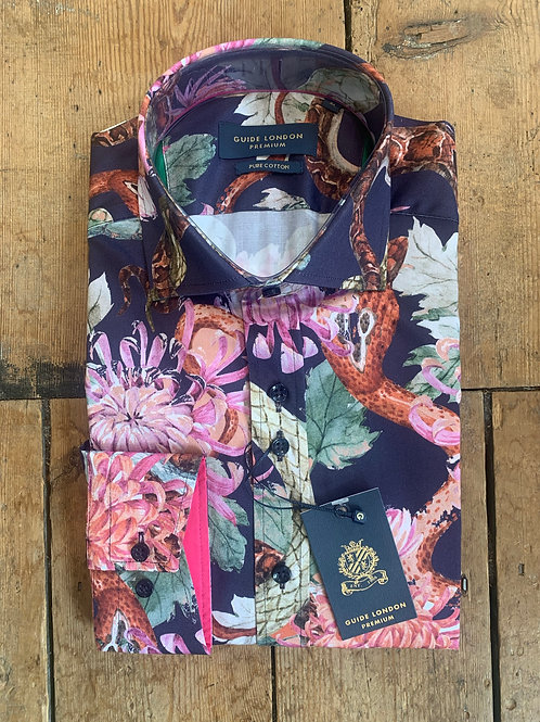 'Garden of Eden' shirt by Guide London in Navy/Floral