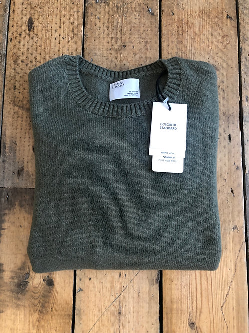 Colorful Standard Merino wool pullover in Dusty Olive