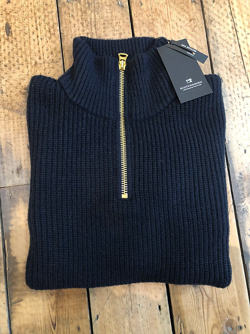Scotch & Soda Zip neck chunky rib pullover in night.