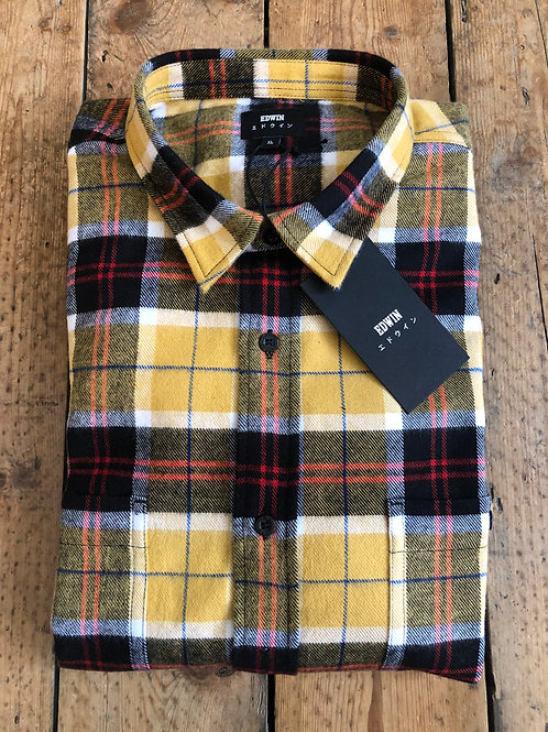 Edwin 'Labour Shirt' brushed cotton over-shirt in Yellow/Black