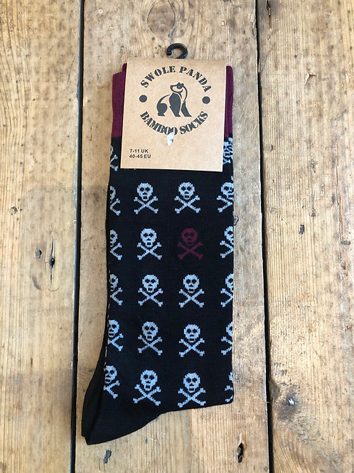 Swole Panda Skull and Crossbones Motif bamboo sock