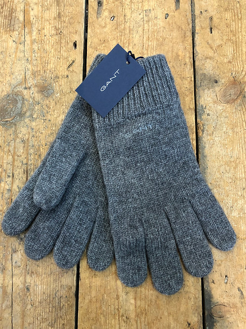 Gant Knitted wool gloves in grey