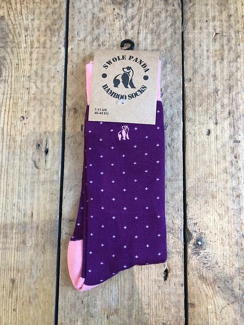 Swole Panda Purple and Pink Spotted bamboo sock