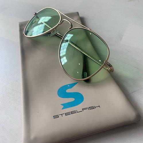 Steelfish 'Eldorado' sunglasses in Gold/Green