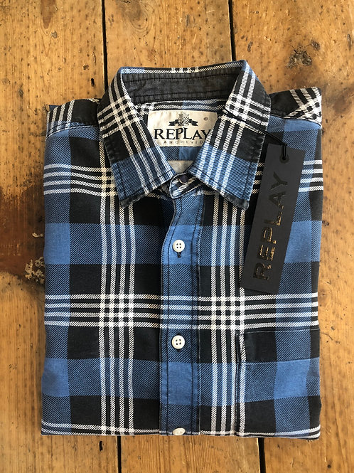 Replay Checked shirt in blue