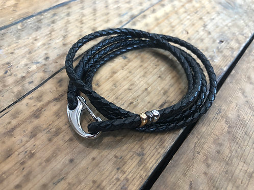 Paul Smith black leather double wrap bracelet