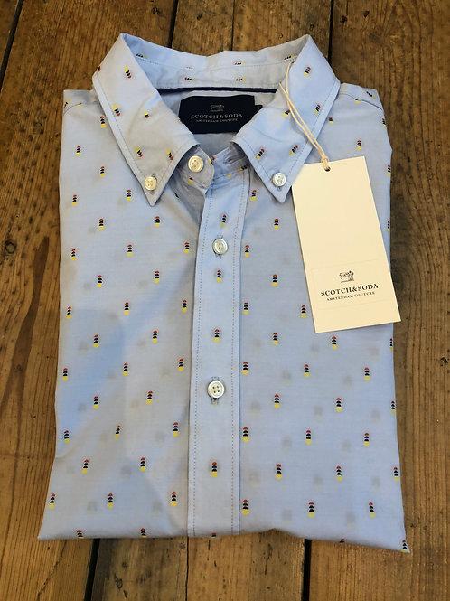 Scotch & Soda Cotton fil-coupé jacquard shirt
