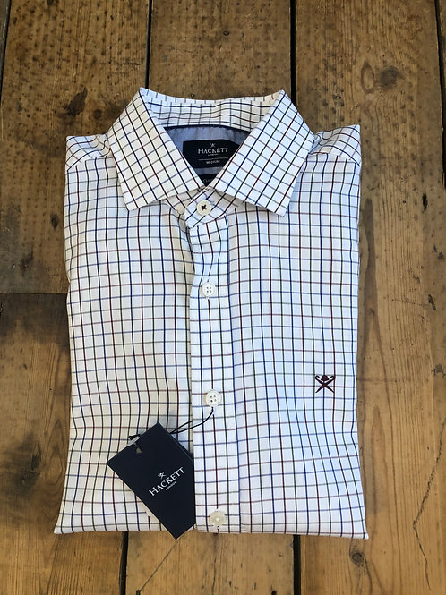Hackett Tattersal check shirt in Olive, Wine and Navy
