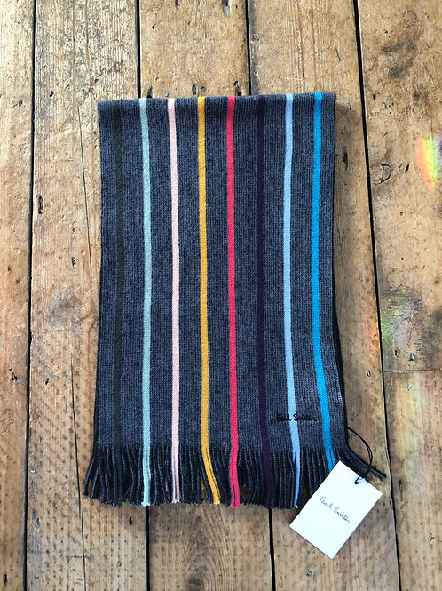 Paul Smith Charcoal Twisted 'Artist Stripe' wool  scarf