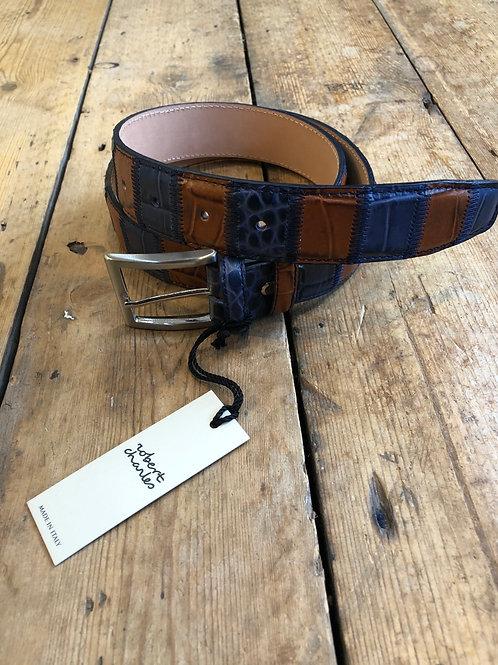 Robert Charles Blue and Tan patchwork belt