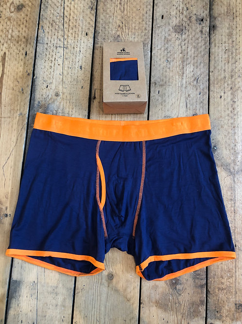 Swole Panda Navy with Orange waistband bamboo underwear