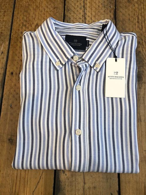 Scotch & Soda soft viscose wide stripe shirt in blue and white