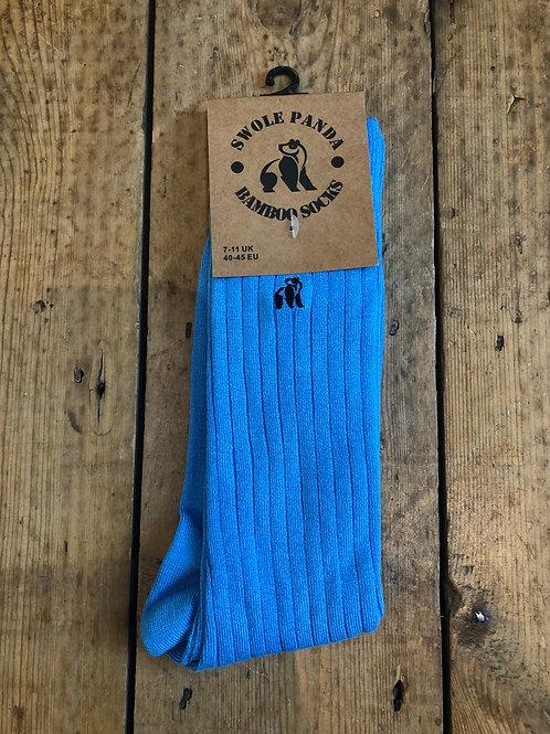 Swole Panda Sky Blue Ribbed bamboo sock