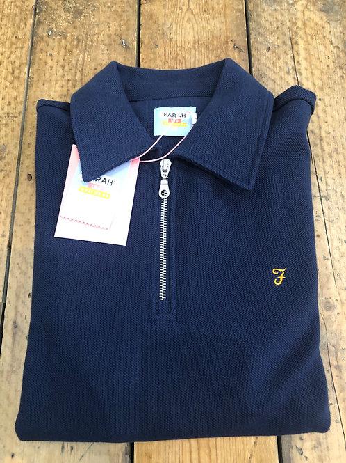 Farah 'Spon' zip neck sweatshirt in Yale blue