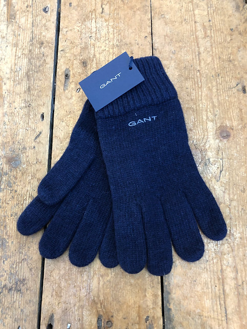 Gant Knitted wool gloves in marine