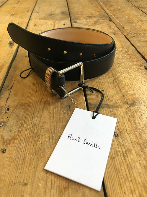 Paul Smith black leather signature stripe keeper belt