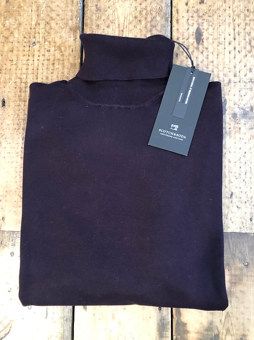 Scotch & Soda ECOVERO™ rollneck pullover in deep aubergine