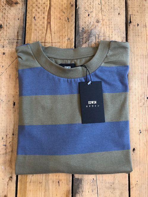 Edwin 'Quarter' long sleeve T-Shirt in Martini Olive and Vintage blue