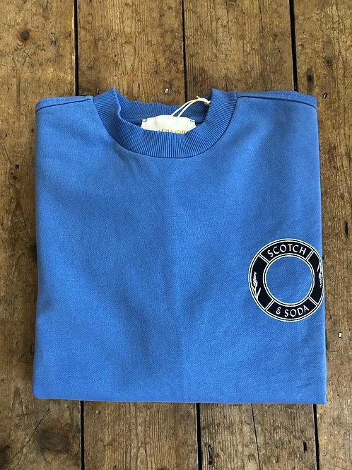 Scotch & Soda Logo sweat in 'Seaside Blue'