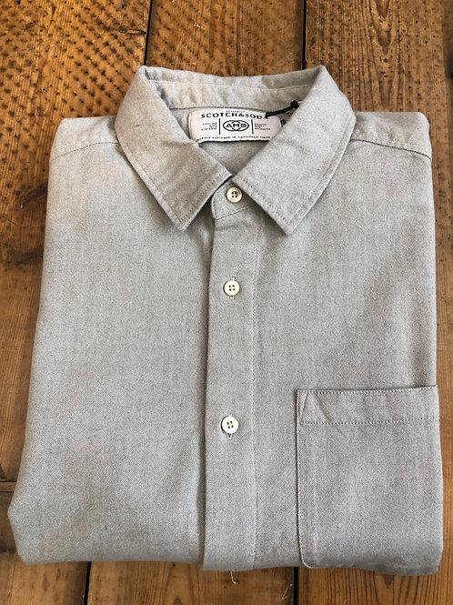 Scotch & Soda Brushed cotton oxford shirt in grey melange