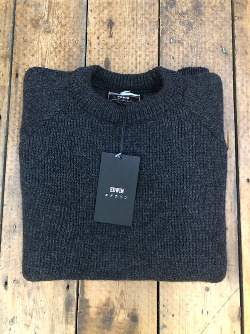 Edwin 'Line' chunky crew neck pullover in charcoal