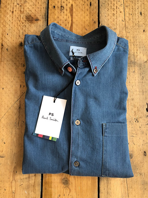 Paul Smith Multi coloured stitch detail denim shirt