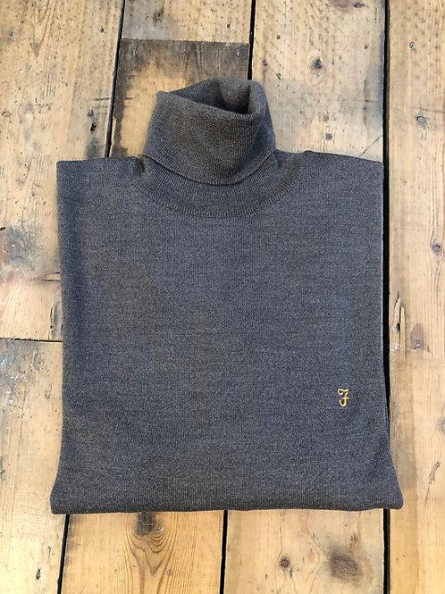 Farah 'Gosforth' Roll Neck Pullover in Rich Grey