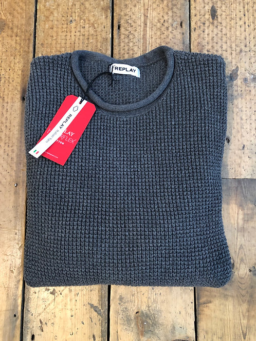 Replay Hyperflex cowl neck waffle knit pullover in grey