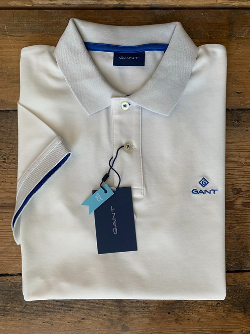 GANT Contrast Collar Piqué Rugger in White