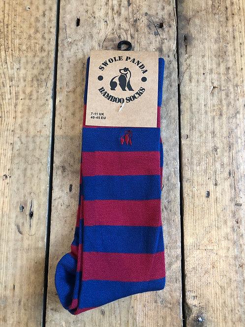 Swole Panda Burgundy and Navy Bar Striped Bamboo Sock