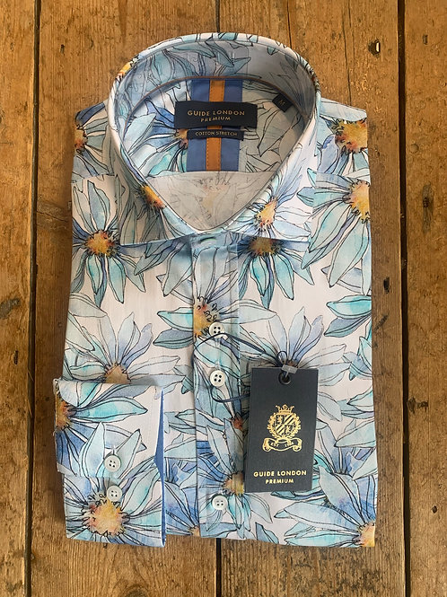 'Blue Pastel Florals ' shirt by Guide London in Sky/Flowers