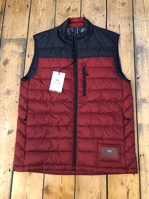 Paul Smith Recycled polyester quilted gilet in Red and Navy