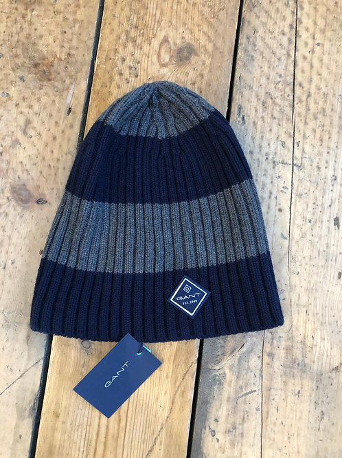 Gant bar stripe ribbed beanie in charcoal and navy
