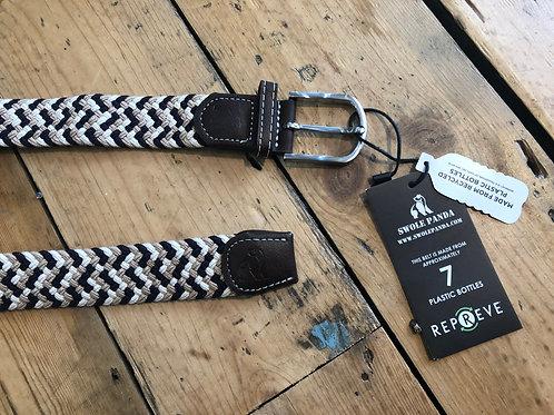 Swole Panda Recycled woven belt in Navy/Beige/White zig zag