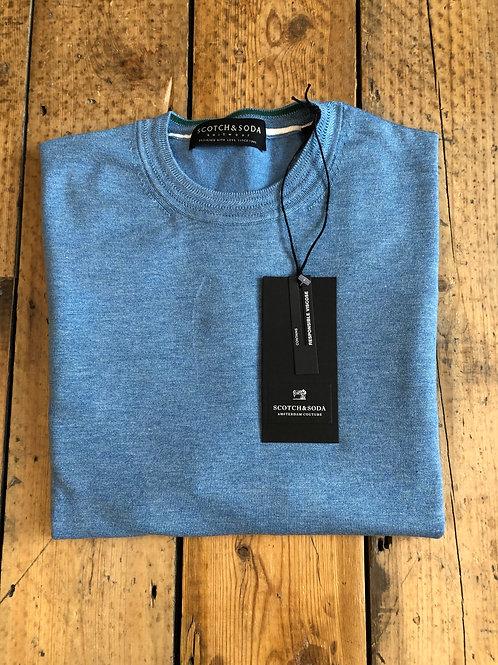 Scotch & Soda ECOVERO™ crewneck pullover in frost blue melange